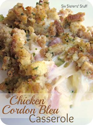 Chicken Cordon Bleu Casserole. Image from www.sixsistersstuff.com