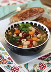 Veggie Packed Minestrone Soup. Image from www.ourbestbites.com