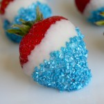Click picture for recipe...Red, White and Blue Patriotic Strawberries. Image from www.ourbestbites.com