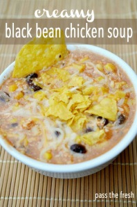Creamy Black Bean Chicken Soup. Image from www.passthefresh.com